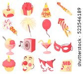 happy birthday icons set.... | Shutterstock . vector #523546189