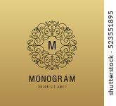 vector monogram luxury linear... | Shutterstock .eps vector #523551895