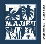 malibu tee print with palm... | Shutterstock .eps vector #523555555