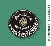 craft beer bottle cap with... | Shutterstock .eps vector #523556155