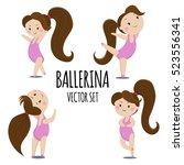 cute ballerina girl cartoon...   Shutterstock .eps vector #523556341