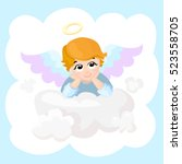 baby angel vector cartoon... | Shutterstock .eps vector #523558705