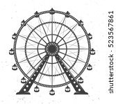 Ferris Wheel Vector Monochrome...
