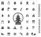 christmas tree inside globe on...   Shutterstock .eps vector #523568401
