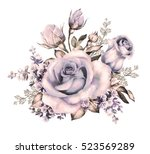 watercolor flowers. floral... | Shutterstock . vector #523569289