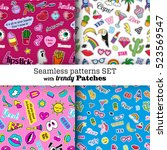 seamless patterns set with... | Shutterstock .eps vector #523569547
