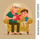 grandfather character sit with... | Shutterstock .eps vector #523572655