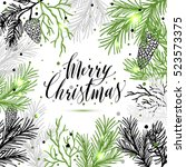 merry christmas greeting card... | Shutterstock . vector #523573375