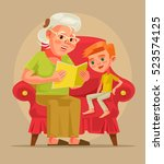 grandmother character sit with... | Shutterstock .eps vector #523574125