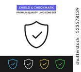 vector shield and checkmark... | Shutterstock .eps vector #523578139