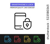 vector smartphone and lock icon.... | Shutterstock .eps vector #523580365