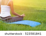 yoga in the park  outdoor with... | Shutterstock . vector #523581841