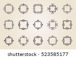 a huge rosette wicker border...   Shutterstock .eps vector #523585177