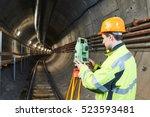 surveyor with theodolite level... | Shutterstock . vector #523593481