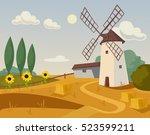 mill farm. vector flat cartoon... | Shutterstock .eps vector #523599211