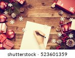 a letter to santa claus ... | Shutterstock . vector #523601359