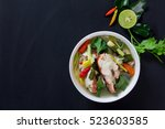 tom yam pla   red grouper fish  ...   Shutterstock . vector #523603585