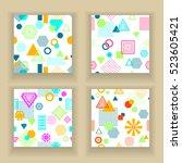 set  abstract seamless pattern... | Shutterstock .eps vector #523605421