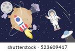 astronaut floating in cosmos.... | Shutterstock . vector #523609417