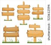 wooden sign boards set. vector... | Shutterstock .eps vector #523612594