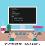 man programmer hands working on ... | Shutterstock .eps vector #523613047