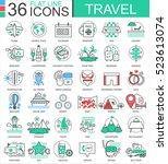 vector travel color flat line... | Shutterstock .eps vector #523613074