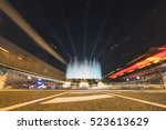 BARCELONA, SPAIN - DECEMBER 25, 2015: Night view of Magic Fountain light show in Barcelona, Spain - stock photo