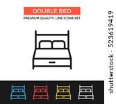 vector double bed icon. hotel... | Shutterstock .eps vector #523619419