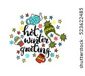 hot winter greeting. isolated... | Shutterstock .eps vector #523622485