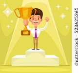 businessman winner character... | Shutterstock .eps vector #523625365