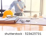 young engineers working in the... | Shutterstock . vector #523625731