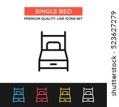 vector single bed icon. hotel... | Shutterstock .eps vector #523627279