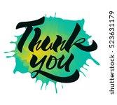 thank you. handwritten brush... | Shutterstock .eps vector #523631179