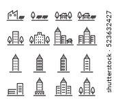building icon set.line vector. | Shutterstock .eps vector #523632427