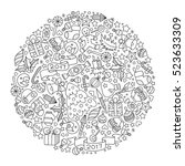pattern for coloring book.... | Shutterstock .eps vector #523633309