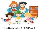 children reading books in the... | Shutterstock .eps vector #523634671