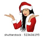 happy woman sign in christmas... | Shutterstock .eps vector #523636195