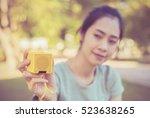 young beautiful woman enjoying... | Shutterstock . vector #523638265