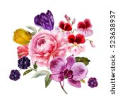 hand drawn watercolor bouquet... | Shutterstock . vector #523638937