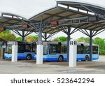 Bus Station With Blue Buses