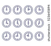 clock showing every hour thin... | Shutterstock .eps vector #523645894