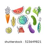 colorful vector icons' set of... | Shutterstock .eps vector #523649821
