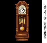 antique wooden grandfather... | Shutterstock .eps vector #523652587