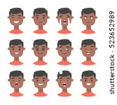 set of male emoji characters.... | Shutterstock .eps vector #523652989