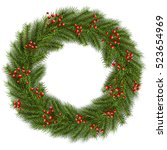 christmas wreath green fir tree.... | Shutterstock .eps vector #523654969