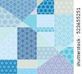 vector patchwork pattern.... | Shutterstock .eps vector #523655251