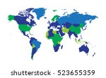 world map with countries flat... | Shutterstock .eps vector #523655359