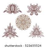 set of mandalas  lotus and... | Shutterstock .eps vector #523655524