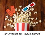 Loose Popcorn In Striped Box ...