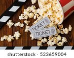 clapper board  spilled popcorn... | Shutterstock . vector #523659004